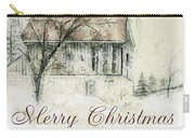 Barn In Snow Christmas Card Carry-all Pouch