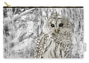 Barred Owl Snowy Day In The Forest Carry-all Pouch by Jennie Marie Schell