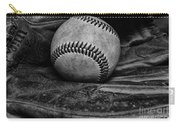 Baseball Broken In Black And White Carry-all Pouch by Paul Ward
