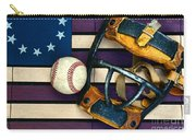 Baseball Catchers Mask Vintage On American Flag Carry-all Pouch