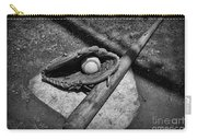 Baseball Home Plate In Black And White Carry-all Pouch by Paul Ward