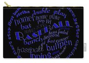 Baseball Terms Typography Blue On Black Carry-all Pouch