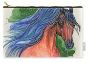 Bay Arabian Horse With Blue Mane 30 10 2013 Carry-all Pouch