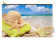 Beach Bag With Sun Hat Carry-all Pouch by Amanda Elwell