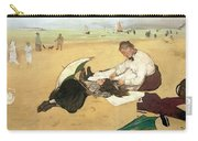 Beach Scene Little Girl Having Her Hair Combed By Her Nanny Carry-all Pouch by Edgar Degas