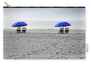 Beach Umbrellas On A Cloudy Day Carry-all Pouch by Thomas Marchessault