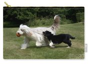 Bearded Collies Playing Carry-all Pouch by John Daniels