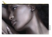 Beautiful Black Woman Face With Shiny Silver Skin Carry-all Pouch