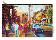 Beautiful  Downtown City Stroll  Cafe Paintings Montreal Restaurants On Crescent Street C Spandau Carry-all Pouch