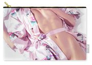Beautiful Half Nude Asian Woman Lying In Bed Wearing Pink Yukata Carry-all Pouch