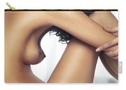 Beautiful Nude Woman Sitting On Bed With Arms Around Her Knees Carry-all Pouch