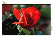 Beautiful Red Rose Bud Carry-all Pouch by Robert Bales