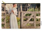 Beautiful Woman In White Dress With Parasol Carry-all Pouch