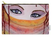 Beautiful Woman With Niqab Watercolor Painting Carry-all Pouch