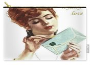 Beautiful Young Woman Holding Love Letter Vintage Vector Carry-all Pouch