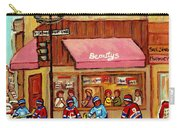 Beauty's Restaurant Paintings Of Plateau Montreal Winter Scenes Hockey Art Carole Spandau  Carry-all Pouch