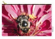 Bee Close Up On Pinkish Red Flower Carry-all Pouch