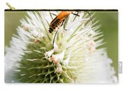 Beetle On White Spiky Wild Flower Carry-all Pouch