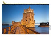 Belem Tower In Lisbon Illuminated At Night Carry-all Pouch