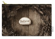 Believe In Text In The Center Of A Christmas Wreath Carry-all Pouch