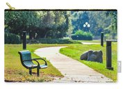 Bench In A Park With A Walkway Carry-all Pouch