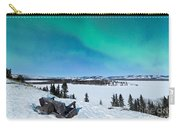 Bench Looking On Lake Laberge With Northern Lights Carry-all Pouch