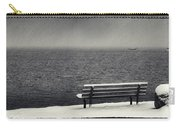 Bench On The Winter Shore Carry-all Pouch
