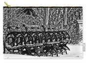 Benches In The Snow - Bw Carry-all Pouch
