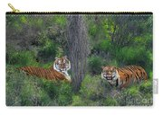 Bengal Tigers On Grassy Hillside Endangered Species Wildlife Rescue Carry-all Pouch