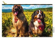 Bernese Mountain Dog And Leonberger Among Wildflowers Carry-all Pouch