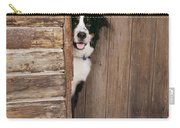Bernese Mountain Dog At Log Cabin Door Carry-all Pouch