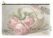 Best Wishes Vintage Roses Card  Carry-all Pouch