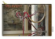 Bicycle Attached To Wall Outside Of Fast Food Restaurant Carry-all Pouch