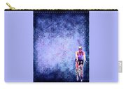 Bicycle Rider On Blue Background Carry-all Pouch