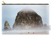 Big Rock On The Oregon Coast With Fog Carry-all Pouch