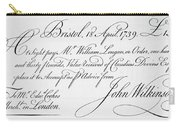 Bill Of Exchange, 1739 Carry-all Pouch