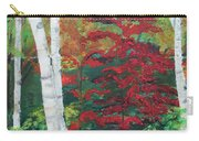 Birch Trees In Red Carry-all Pouch