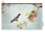 Bird And Pink And Green Flowering Branch On Blue Carry-all Pouch