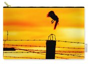 Bird Flying Off From Prison Fence Carry-all Pouch