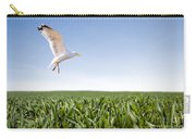 Bird Flying Over Green Grass Carry-all Pouch