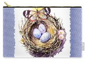 Bird Nest With Daisies Eggs And Butterfly Carry-all Pouch