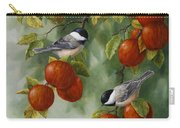 Bird Painting - Apple Harvest Chickadees Carry-all Pouch