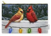 Bird Painting - Christmas Cardinals Carry-all Pouch by Crista Forest