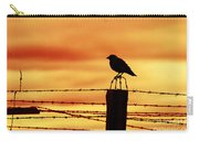 Bird Sitting On Prison Fence Carry-all Pouch