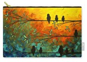 Birds Of A Feather Original Whimsical Painting Carry-all Pouch by Megan Duncanson