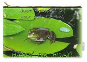 Birthday Greeting Card - Bullfrog On Lily Pad Carry-all Pouch