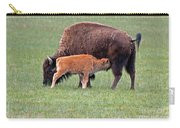 Bison Calf Having Breakfast In  Yellowstone National Park Carry-all Pouch