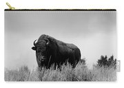 Bison Cow On An Overlook In Yellowstone National Park Black And White Carry-all Pouch