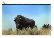 Bison Cow On An Overlook In Yellowstone National Park Carry-all Pouch