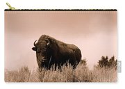 Bison Cow On An Overlook In Yellowstone National Park Sepia Carry-all Pouch